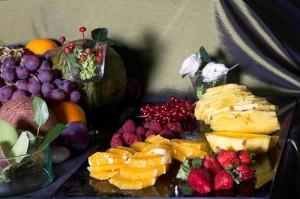 postre de bandeja de fruta para vegetariano