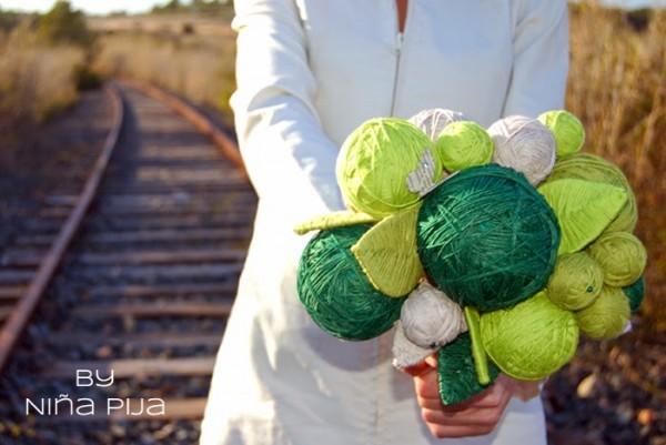 Ramo de novia de bolas de lana