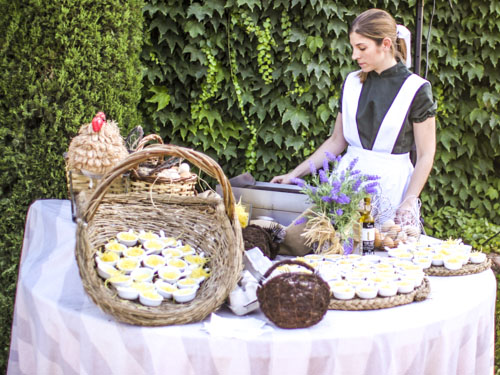 Showcooking de huevitos del laurel catering